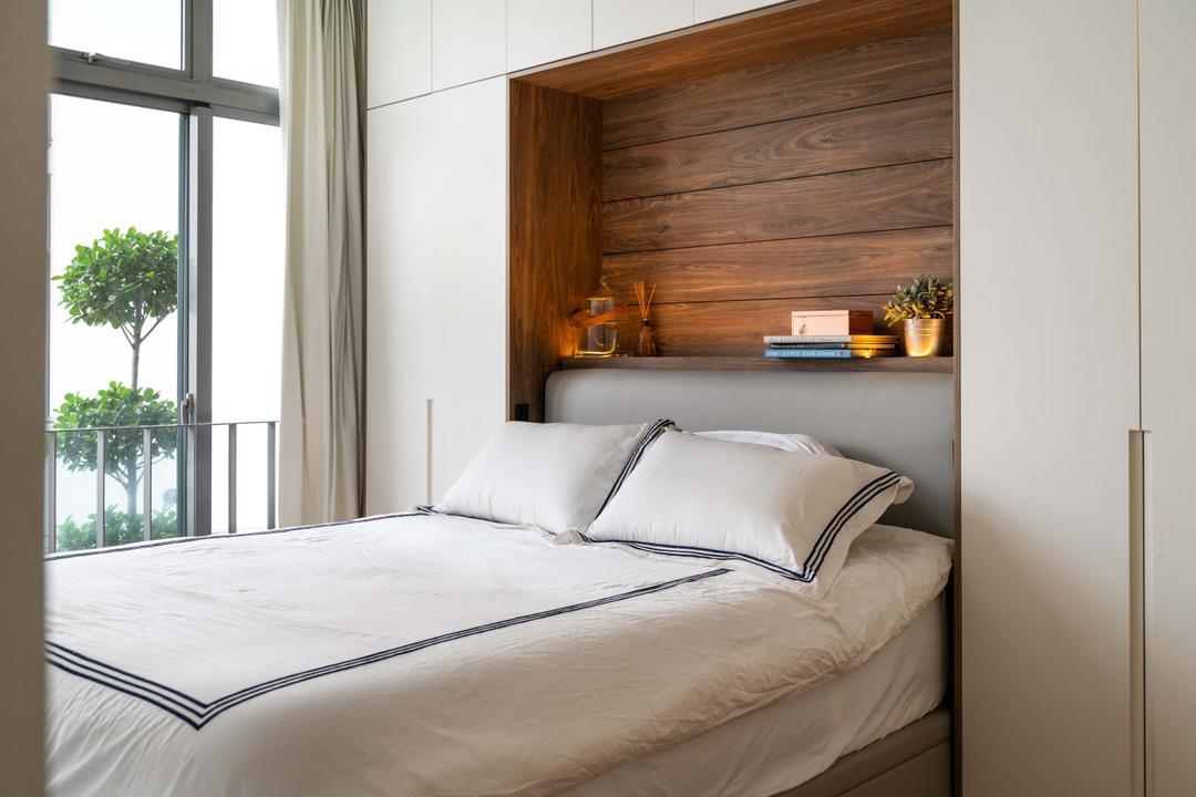Jalan Mutiara, Fineline Design, Modern, Bedroom, Condo, Bedframe, Bedside Storage, Overhead Storage