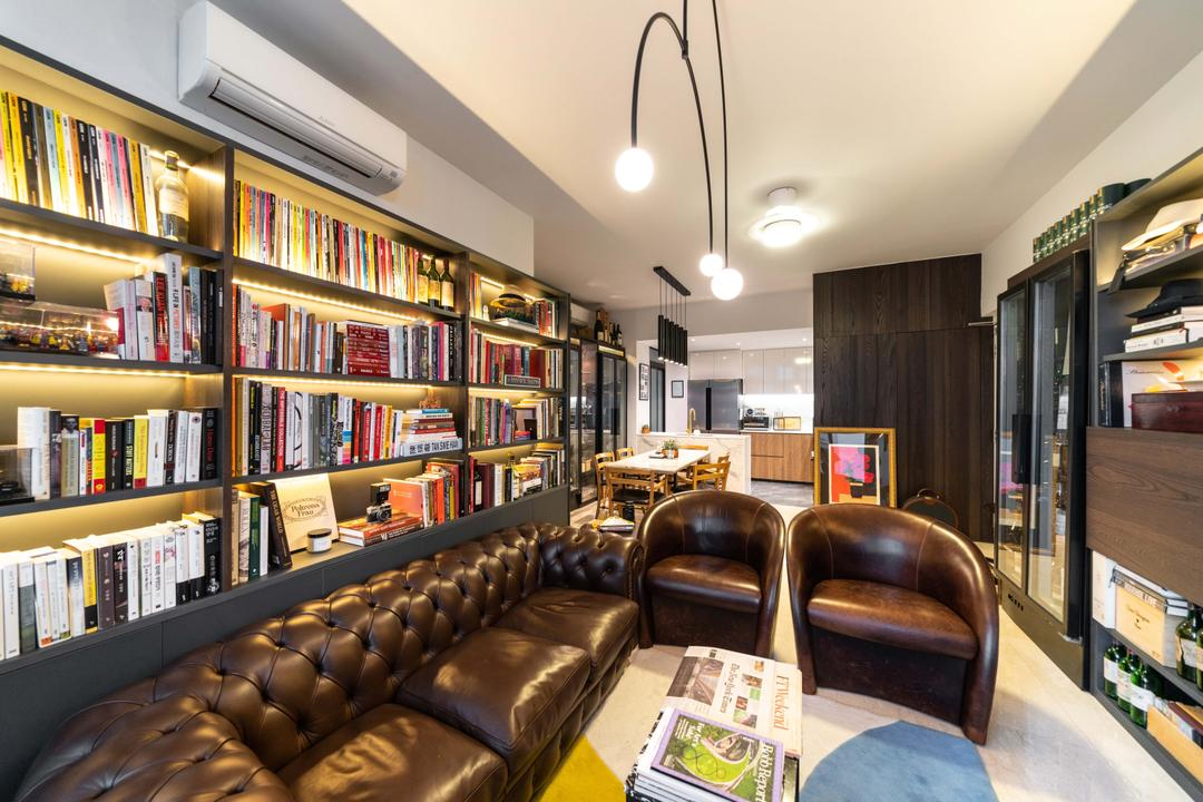 Jalan Mutiara, Fineline Design, Modern, Living Room, Condo, Bookcase, Chesterfield, Leather Sofa, Armchair, Mid Century