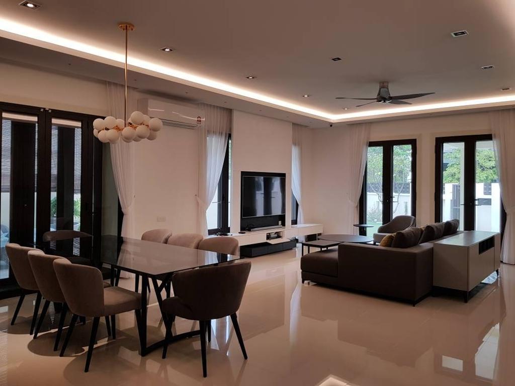 Minimalistic, Landed, Living Room, Semi-D, Damansara Heights, Interior Designer, Qube Design & Creater