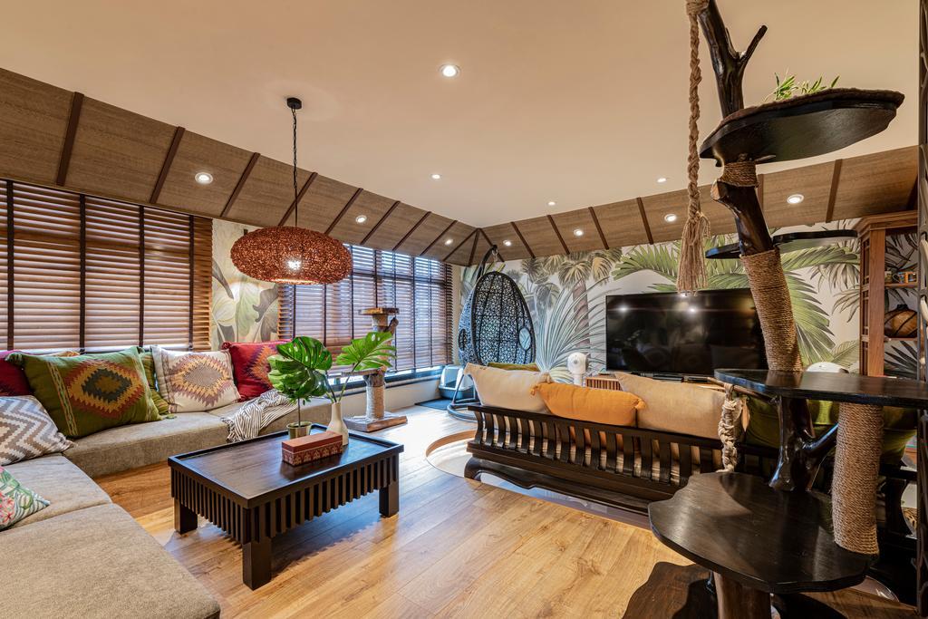 Contemporary, HDB, Living Room, Buangkok Crescent, Interior Designer, Free Space Intent, Balinese Decor