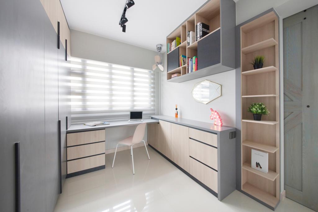 Minimalistic, HDB, Study, Ghim Moh Edge, Interior Designer, The Safe Haven Interiors