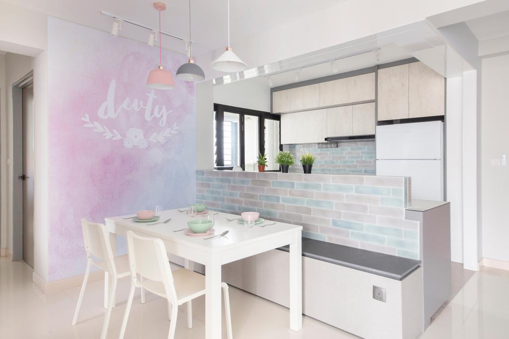 Minimalistic, HDB, Dining Room, Ghim Moh Edge, Interior Designer, The Safe Haven Interiors