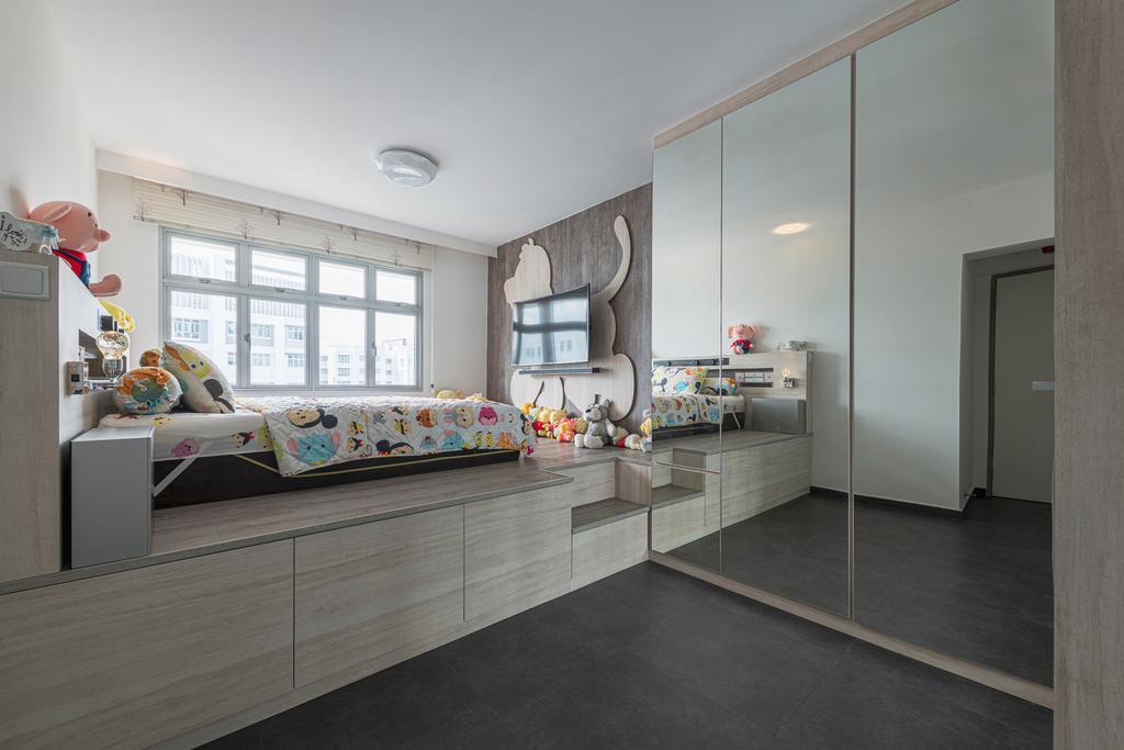 Minimalistic, HDB, Bedroom, Keat Hong Close, Interior Designer, Renologist