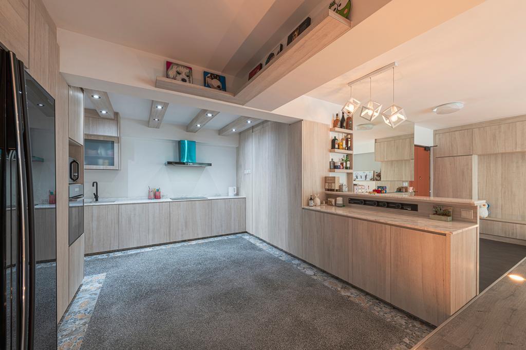 Minimalistic, HDB, Kitchen, Keat Hong Close, Interior Designer, Renologist