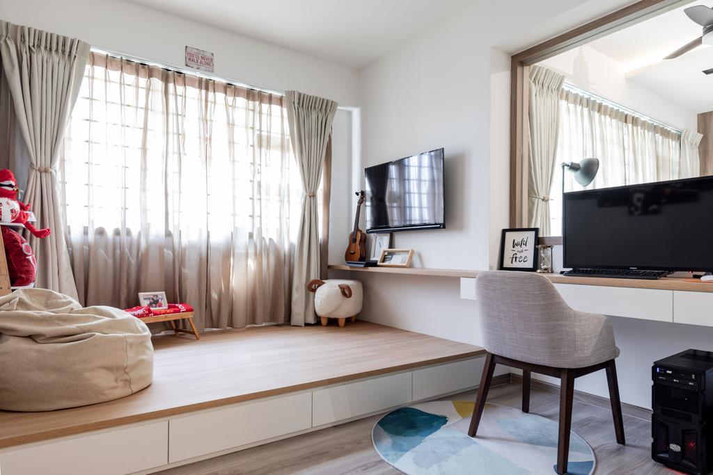 Scandinavian, HDB, Study, Yishun Avenue 6, Interior Designer, The Makers Design Studio