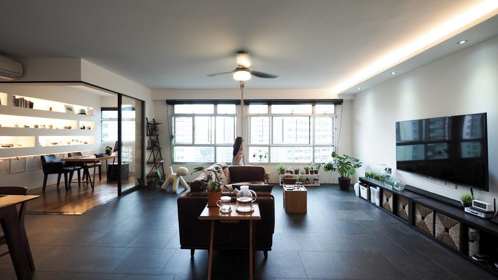 Contemporary, HDB, Living Room, Yishun, Interior Designer, D'Brain Studio