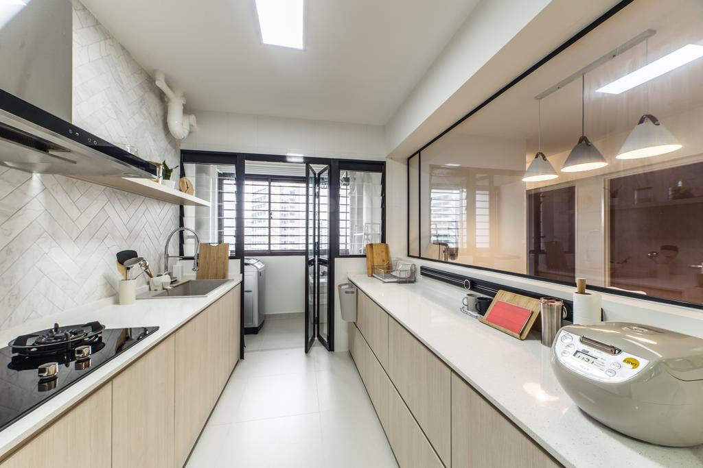 Scandinavian, HDB, Kitchen, GreenRidges @ Tampines, Interior Designer, Ovon Design