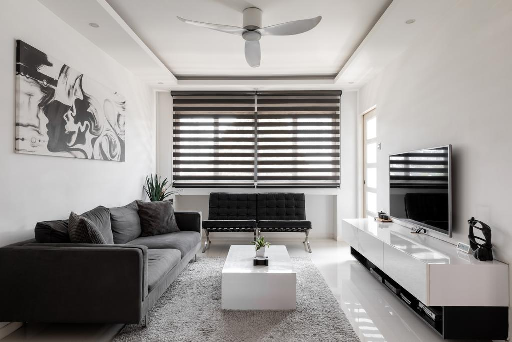 Contemporary, HDB, Living Room, Chai Chee Avenue, Interior Designer, Goodman Interior, Modern, Monotone, Monochrome, Black And White