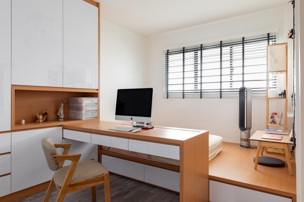Minimalistic, HDB, Study, Tampines Street 22, Interior Designer, ChanInteriors, Scandinavian
