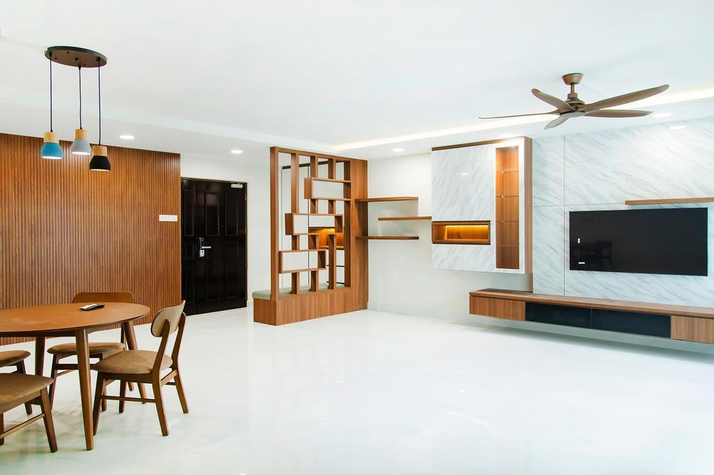 Contemporary, HDB, Living Room, Rivervale Drive, Interior Designer, Mink Design