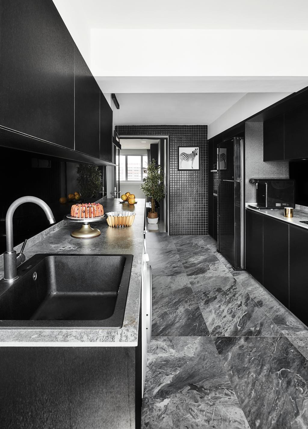 Contemporary, HDB, Kitchen, Hougang Avenue 3, Interior Designer, Dan's Workshop, Modern, Marble