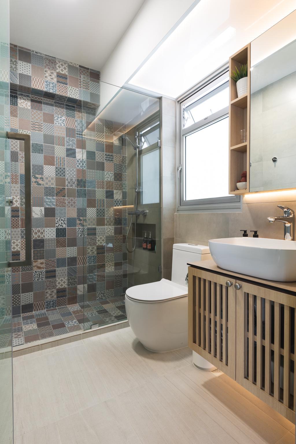 Scandinavian, HDB, Bathroom, Anchorvale Road, Interior Designer, The Roomakers, Minimalistic