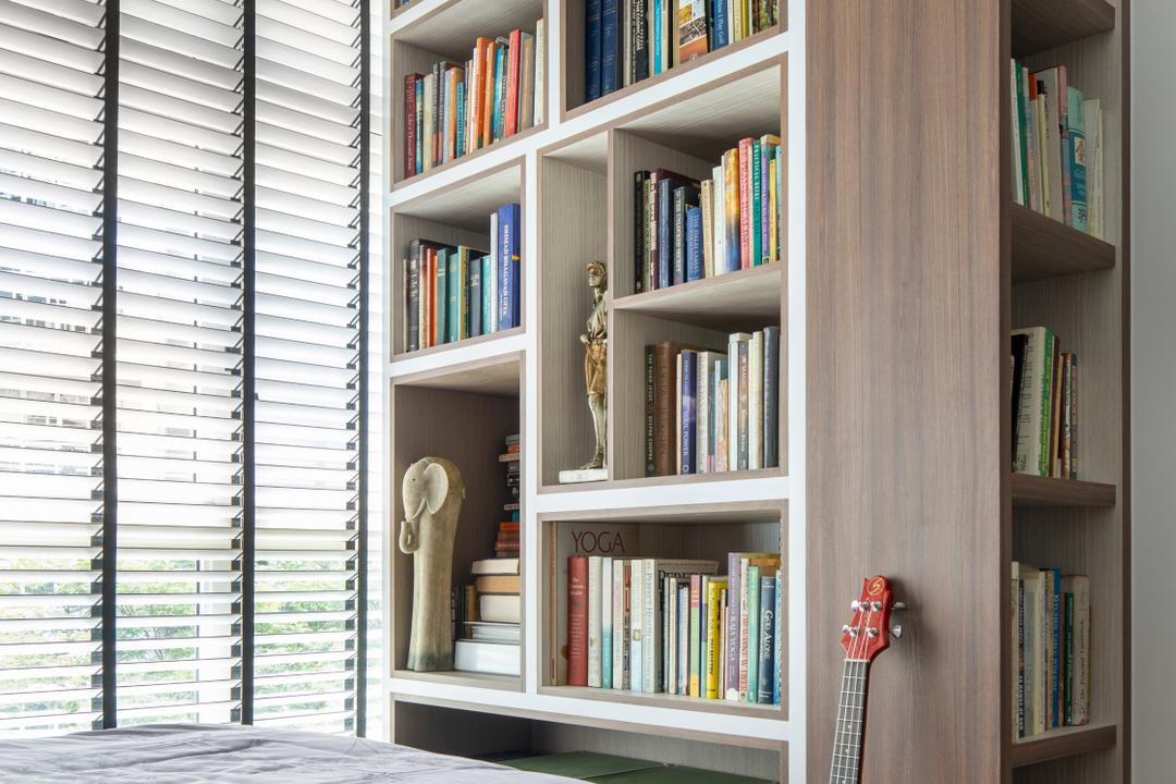 Compassvale Lane, Adroit ID, Eclectic, Bedroom, HDB, Bookcase, Book Display, Book Storage