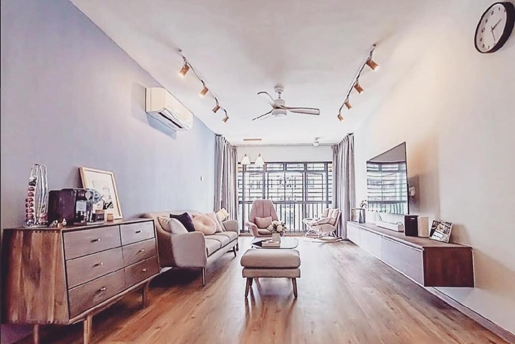 Minimalistic, HDB, Living Room, Kim Tian Road, Interior Designer, Le Bleu Art