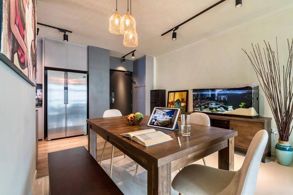 Contemporary, HDB, Dining Room, Fernvale Vista, Interior Designer, Le Bleu Art