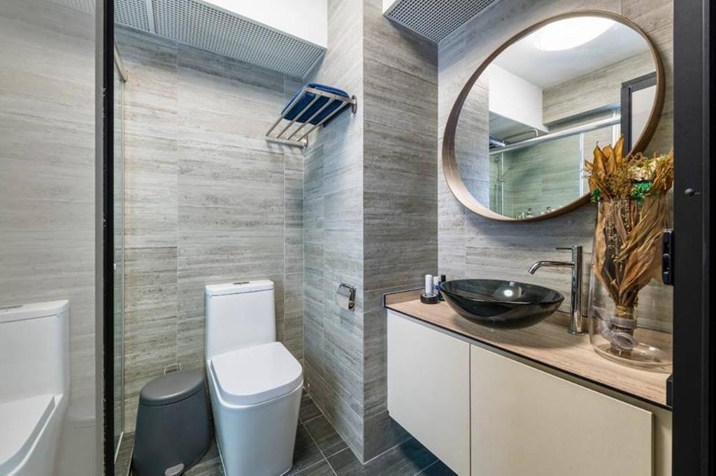 Contemporary, HDB, Bathroom, Fernvale Vista, Interior Designer, Le Bleu Art