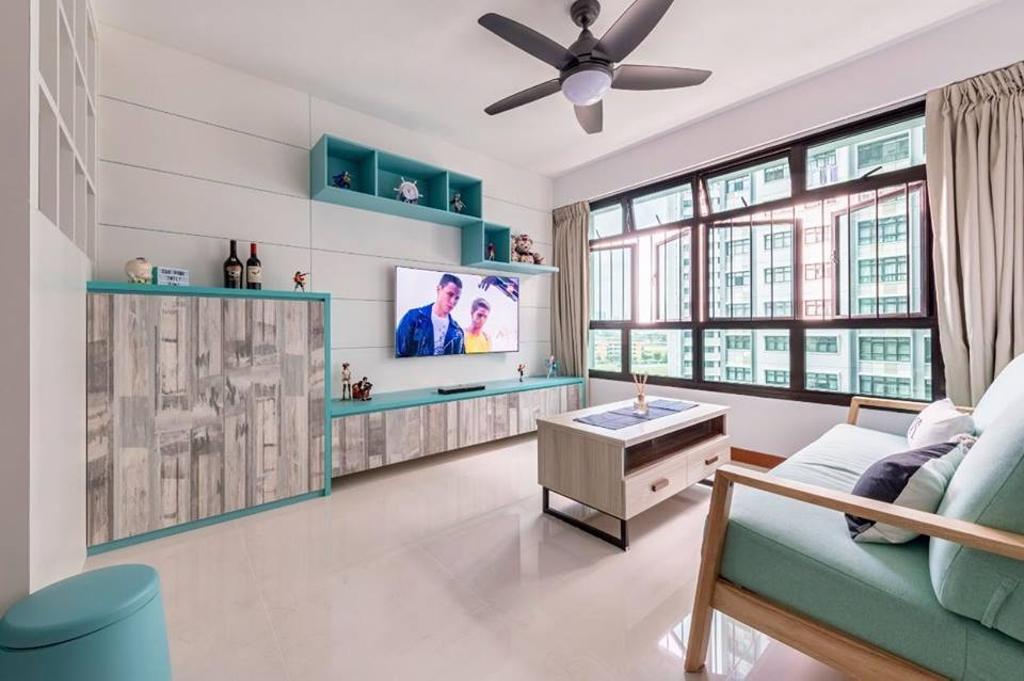 Minimalistic, HDB, Living Room, Keat Hong Mirage, Interior Designer, Le Bleu Art