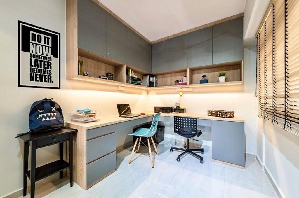 Modern, HDB, Study, Choa Chu Kang Avenue 6, Interior Designer, Le Bleu Art