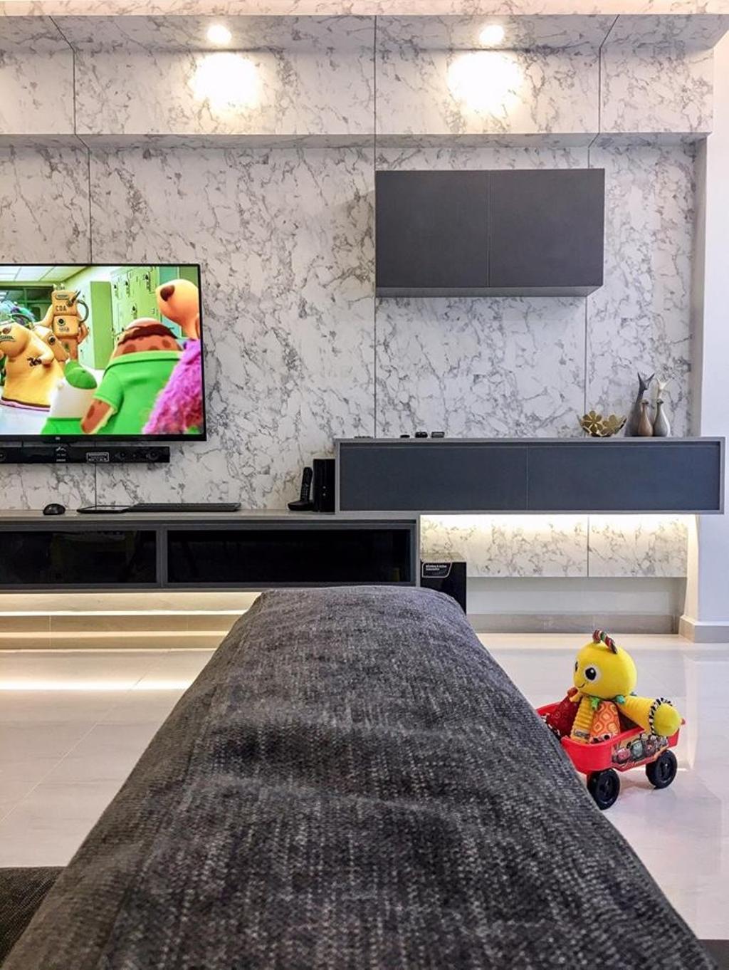 Modern, HDB, Living Room, Choa Chu Kang Avenue 6, Interior Designer, Le Bleu Art