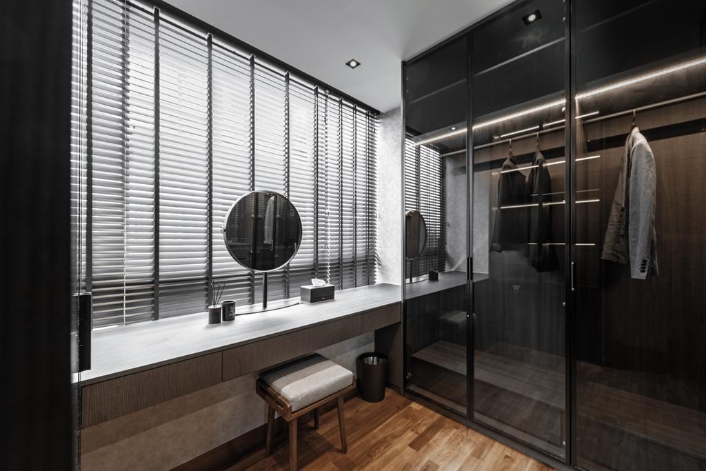 Modern, Condo, Bedroom, Heritage View, Interior Designer, Mr Shopper Studio, Contemporary, Walk In Wardrobe, Wardrobe, Dresser, Dressing Room
