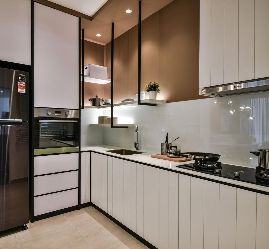 Apartment, Kitchen, A&M Service Apartment Show Unit, Kota Kemuning, Interior Designer, SQFT Space Design Management
