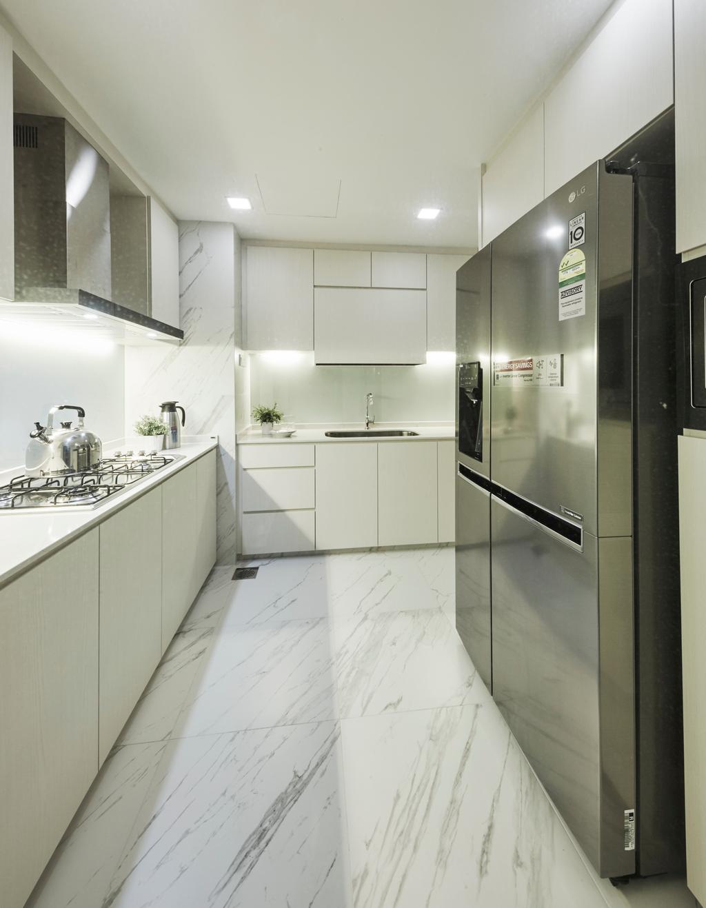 Modern, Condo, Kitchen, Central View, Interior Designer, Blanc