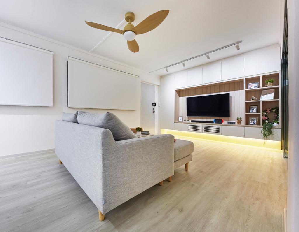 Modern, HDB, Living Room, Potong Pasir, Interior Designer, Blanc, Minimalistic