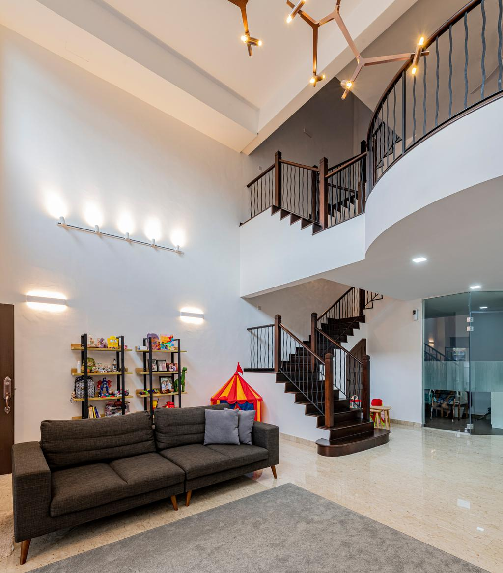 Modern, Landed, Living Room, Riverina Walk, Interior Designer, Renologist