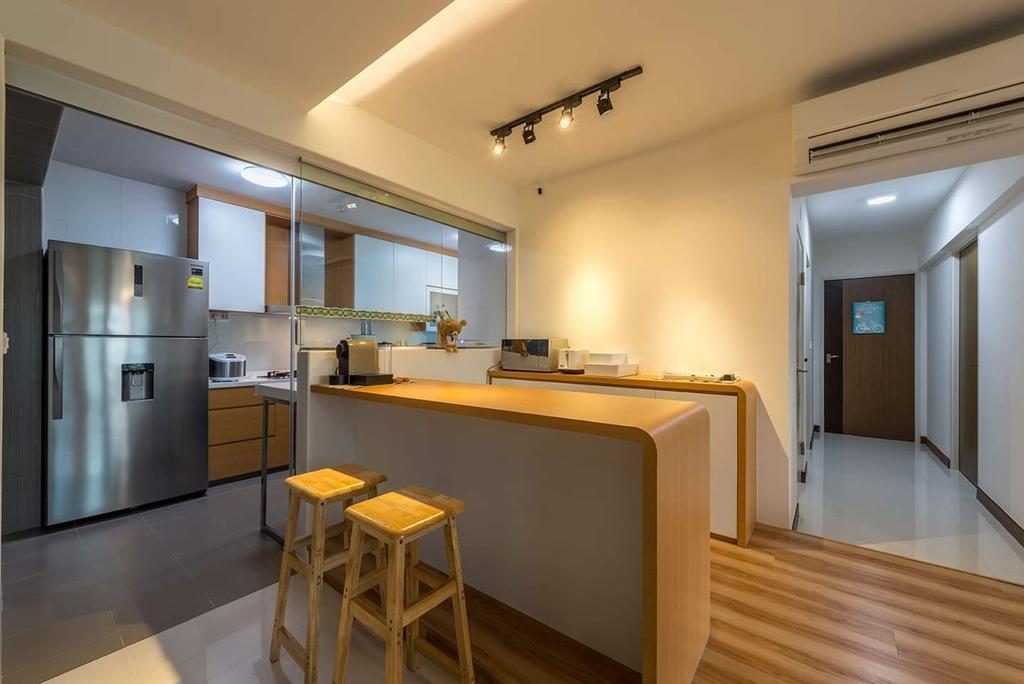 Modern, HDB, Kitchen, Compassvale, Interior Designer, De Exclusive Design Group, Minimalistic