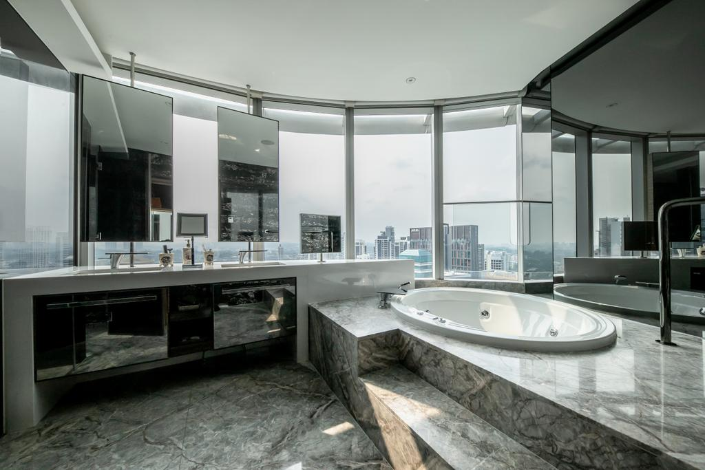 Contemporary, Condo, Bathroom, The Orchard Residences, Interior Designer, Space Atelier, Bath Tub, Bathtub, Sunken Bath