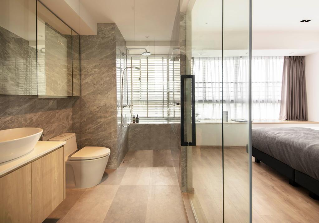 Contemporary, HDB, Bathroom, Boon Keng Road, Interior Designer, KDOT, Ensuite Bathroom, Open Bathroom