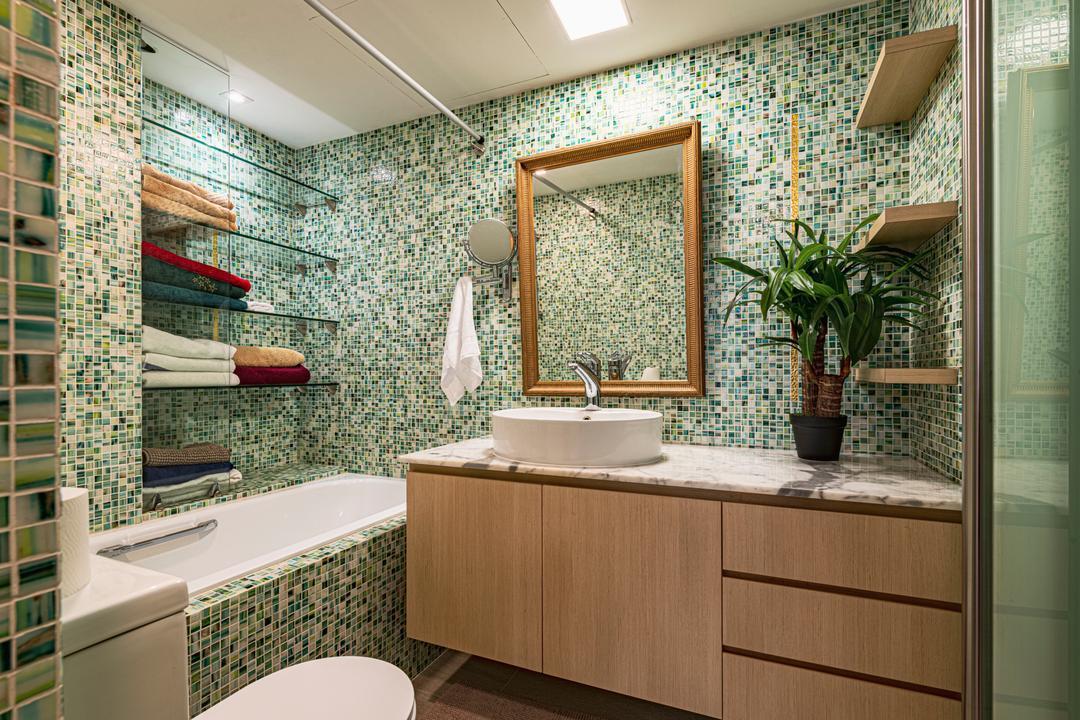 The Plaza @Beach Road, VNA Design, Modern, Bathroom, Condo, Bath Tub, Bathtub, Mosaic Tiles