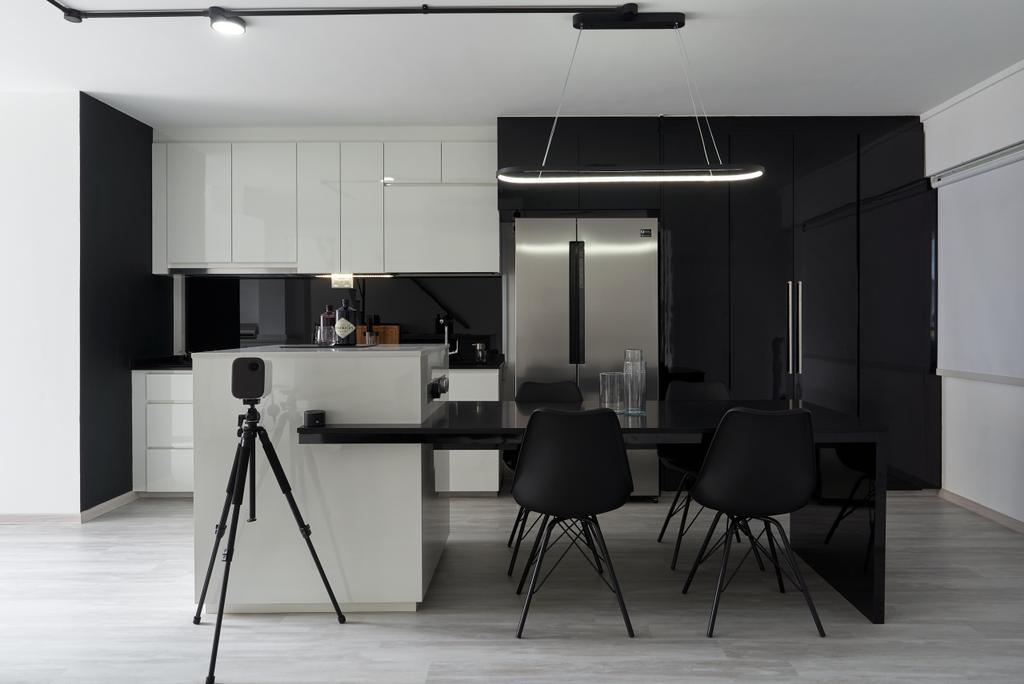 Contemporary, HDB, Dining Room, Teck Whye Lane, Interior Designer, Colourbox Interior, Monotone, Monochrome, Kitchen Island, Open Kitchen
