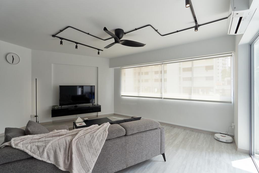 Contemporary, HDB, Living Room, Teck Whye Lane, Interior Designer, Colourbox Interior, Monotone, Monochrome, Black And White