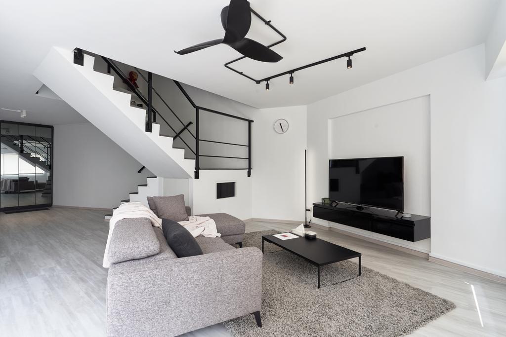 Contemporary, HDB, Living Room, Teck Whye Lane, Interior Designer, Colourbox Interior, Maisonette, Monotone, Monochrome, Black And White