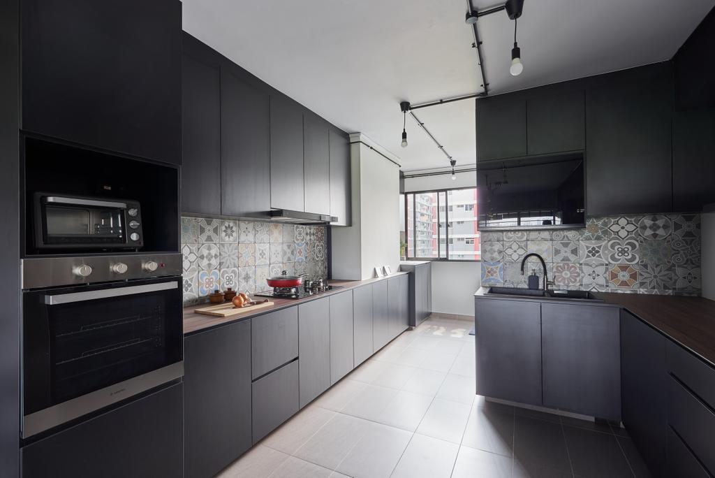 Contemporary, HDB, Kitchen, Hougang Avenue 10, Interior Designer, Colourbox Interior, Industrial