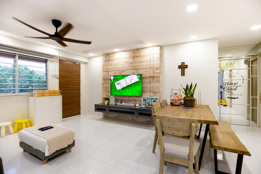 Minimalistic, HDB, Living Room, Tampines Street 45, Interior Designer, Laurus Design