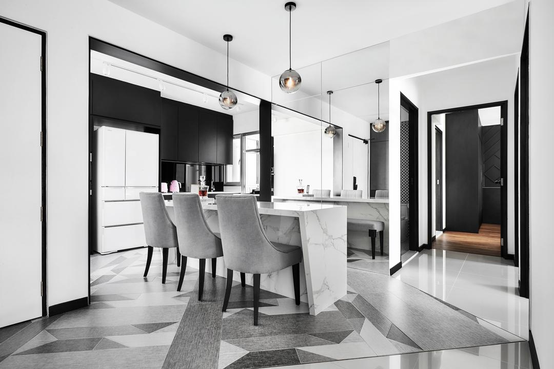 St. George's Lane, Third Avenue Studio, Contemporary, Dining Room, HDB, Graphic Flooring, Marble, Kitchen Counter, Marble Top