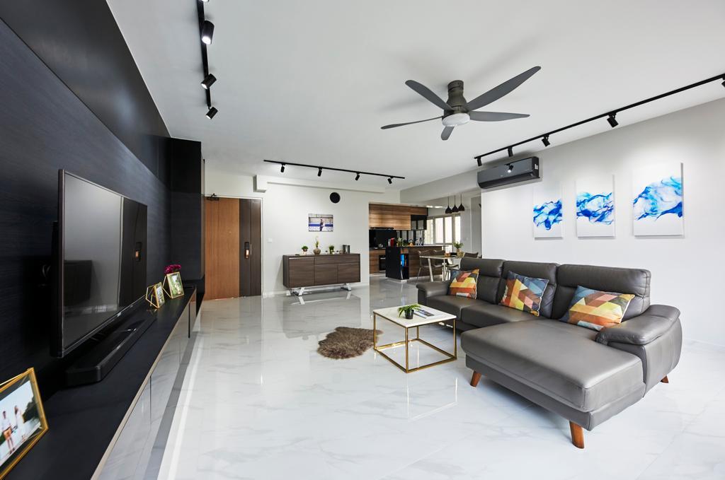 Modern, HDB, Living Room, Punggol Bayview, Interior Designer, The Interior Lab, Scandinavian