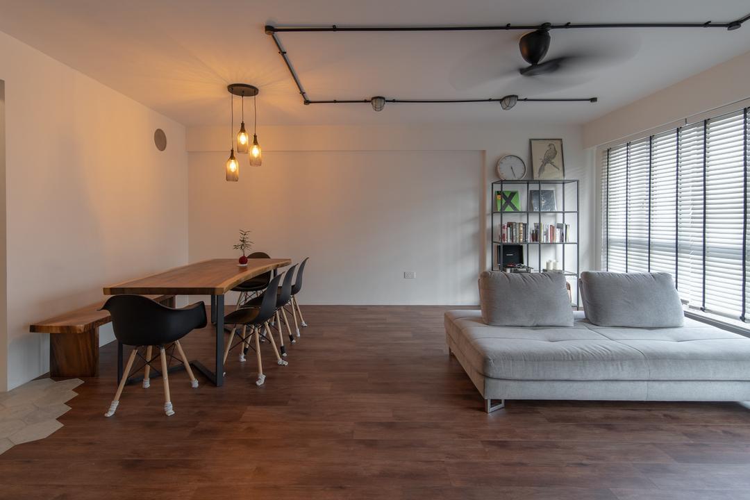 Punggol East, Arche Interior, Contemporary, Living Room, HDB, Open Concept, Flexi Spaces