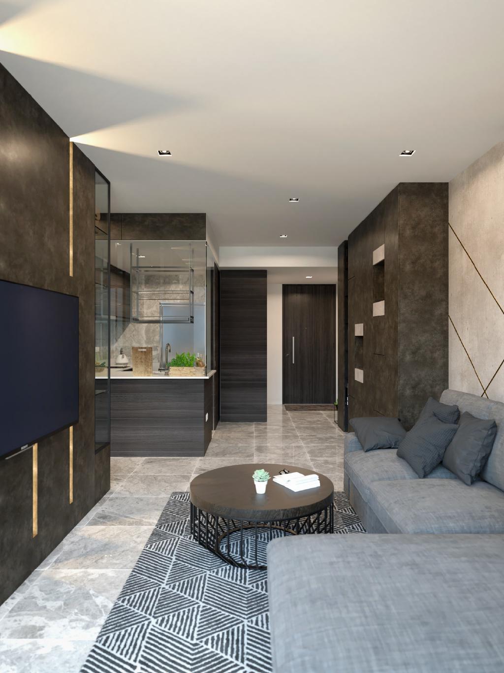 Contemporary, Condo, Living Room, Rivertrees Residences, Interior Designer, Arche Interior