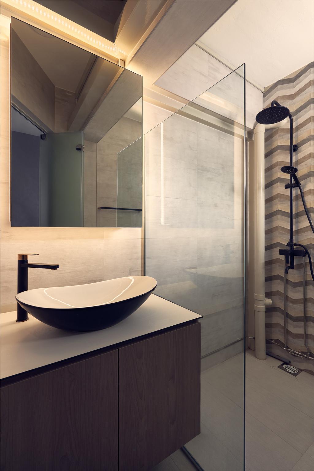 Scandinavian, HDB, Bathroom, Ang Mo Kio Avenue 9, Interior Designer, Happe Design Atelier, Contemporary