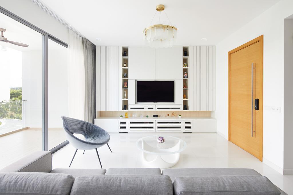 Minimalist, Condo, Living Room, Farrer Road, Interior Designer, Black N White Haus, Contemporary, Tv Feature Wall, Tv Storage