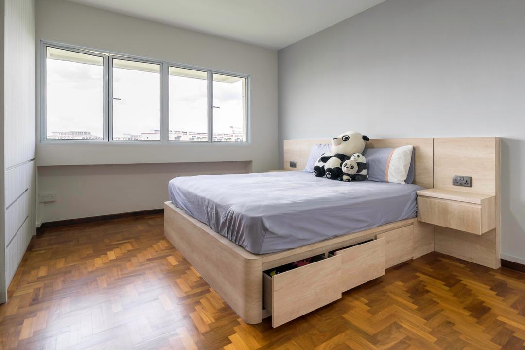 Woodlands Ring Road, Domeco Interior, Contemporary, Bedroom, HDB, Parquet Flooring