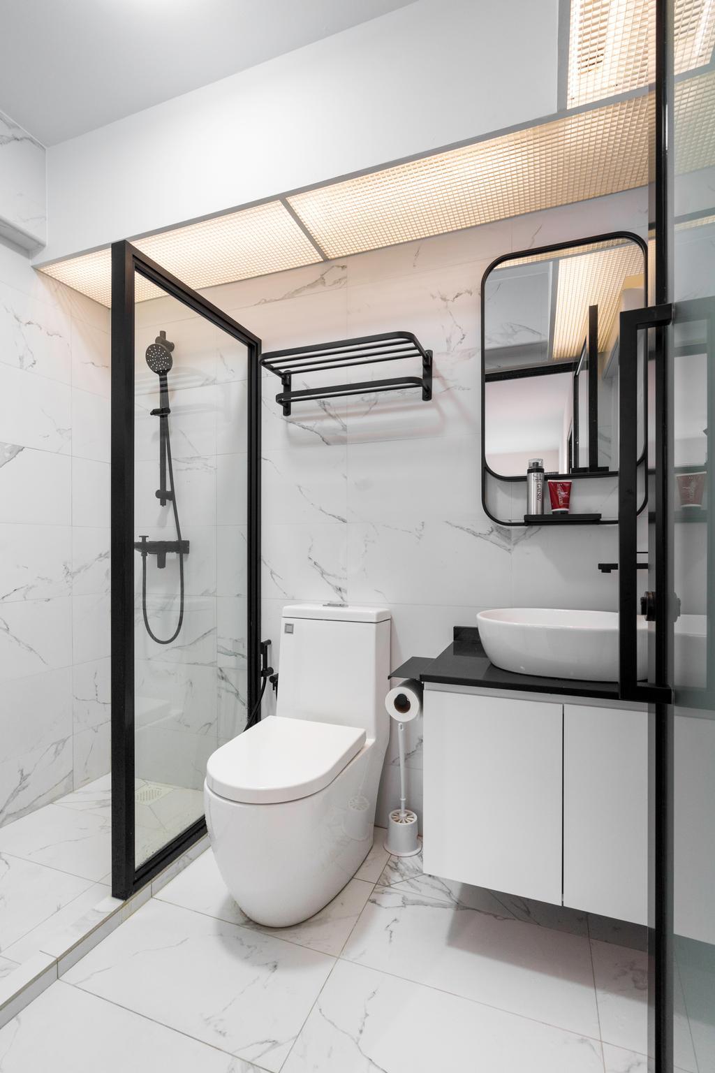 Minimalistic, HDB, Bathroom, Anchorvale Link, Interior Designer, Forefront Interior, Modern, Monochrome