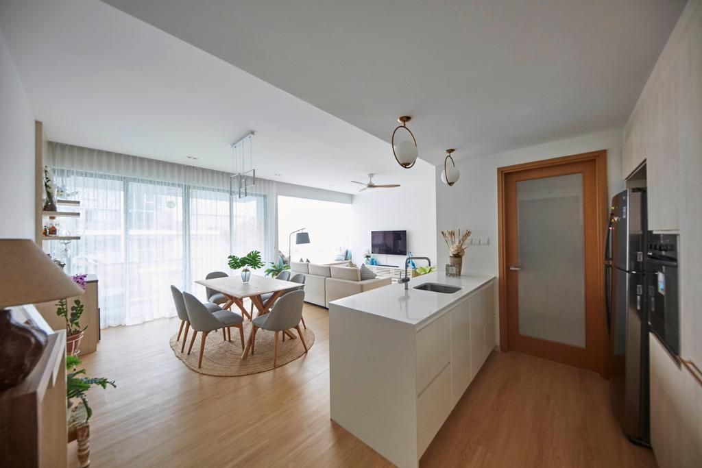 Modern, Condo, Kitchen, One North Residences, Interior Designer, The Interior Lab, Minimalist, Kitchen Island, Dry Kitchen, Open Kitchen