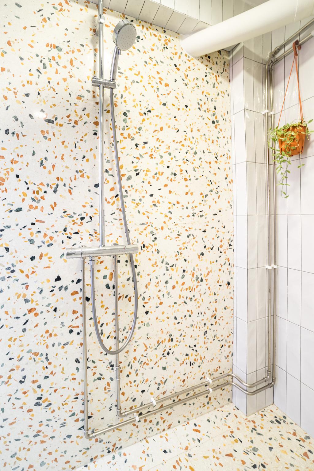 Retro, HDB, Bathroom, Mei Ling Vista, Interior Designer, Archive Design, Modern, Terrazzo Tiles, Terrazzo, Graphic Tiles