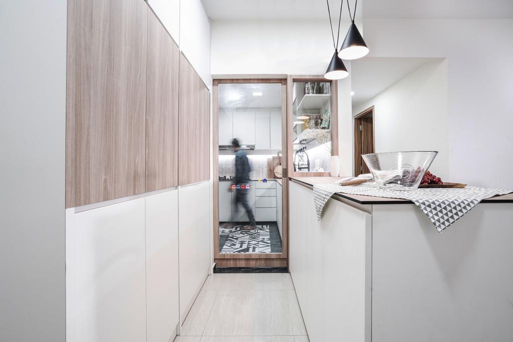 Modern, Condo, Kitchen, Flo Residences, Interior Designer, Couple Abode, Dry Kitchen, Kitchen Peninsula, Kitchen Island
