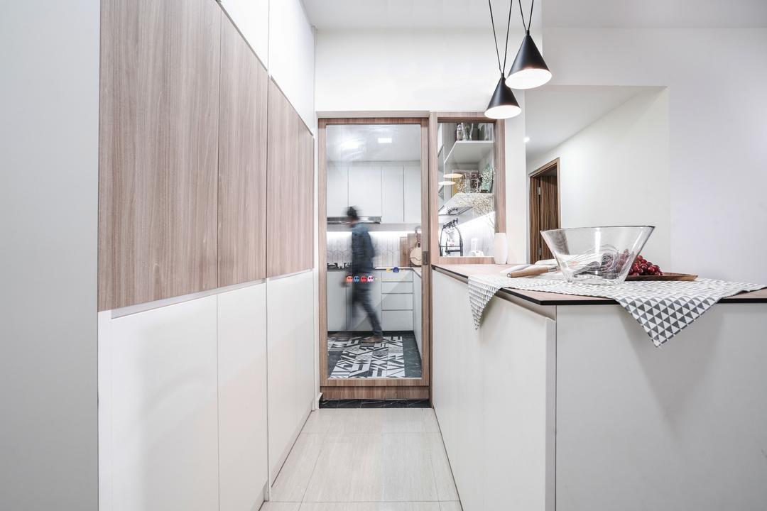 Flo Residences, Couple Abode, Modern, Kitchen, Condo, Dry Kitchen, Kitchen Peninsula, Kitchen Island