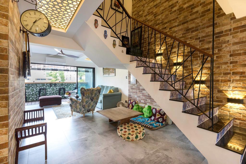 Eclectic, HDB, Living Room, Bedok Reservoir Road, Interior Designer, Seven Heaven, Stairs